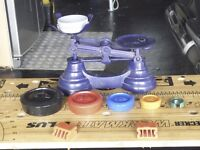 Quirky Kitchen Scales With Multicoloured Iron Weights