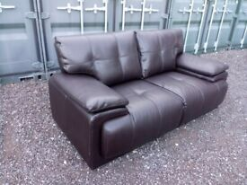 Modern Black Leather 2 Seater Sofa Settee Delivery Available C080020