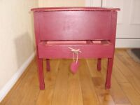 Shabby Chic Vintage sewing box painted in Annie Sloan 'Burgundy' and stencilled with bees