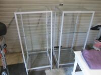 2 Metal display rack units with glass shelves. Ex BHS