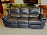 3 Seater Leather Manual Reclining Sofa Settee in Midnight Blue