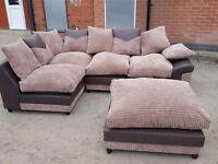 Brown Left Corner Sofa with footstool