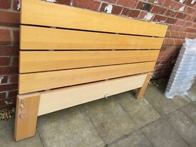 Double bed with wood headboard