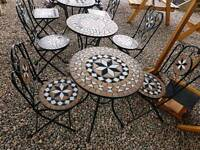 Garden steel bristo set table and 2 chairs