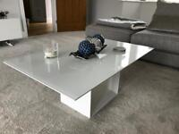 White High Gloss Glass Top Coffee Table