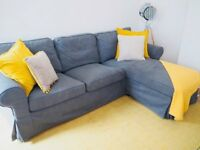 Ikea 3 seated chaise longue dark grey fabric sofa