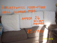 4 PLATT & HILL FOAM AND FIBRE LARGE-APPROX 24 INCHES SQUARE- INNER CUSHION PADS FROM NEXT SOFA