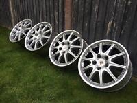 """Porsche 911 996 GT3 BBS 18"""" 2 Piece Split Wheels - Staggered Genuine - 5x130"""