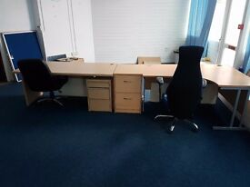 2 x office desk, drawers and chairs
