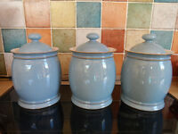 DENBY COLONIAL BLUE PATTERN STORAGE JARS CANNISTERS X3