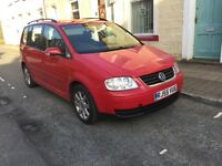 Vw touran 1.9 tdi 06 6 speed 105bhp alloys 7 seater mpv full mot ready to go any trial cheap car px