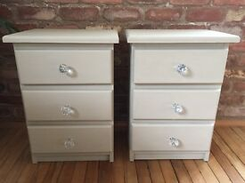 Shabby chic bedside tables/drawers Annie Sloan country grey
