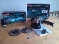 new makita 18v brushless angle grinder + quick release multitool. Bare tools. dtm51+dga454. dtm51z+