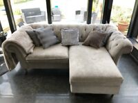 Gosford sofa Corner Chaise - Right Hand - Silver Sumptuous Velour - £1,550 when new - chesterfield