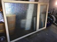 Double glazed window, cream, obscured glass