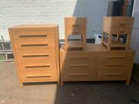 Oakwood furniture comes in double bed frame chest of drawers and side table and bedside cabinets