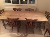 Country Dining Table (7ft) and chairs