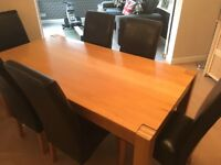 6 Faux Leather Chairs & Large Dining Table