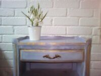Shabby Chic Louis XV Blue Rococo Style Bedside Table