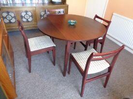 Retro, Round Teak Drop Leaf Table & 4 Chairs