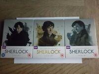 Sherlock Seasons 1, 2 & 3 Blu ray Steel books - brand new