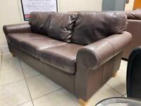 Three Seater Brown Leather Sofa