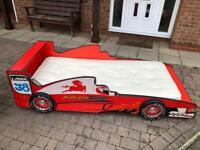 2 red racer car beds :including mattress