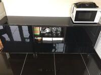 Ikea Besta TV bench/ cupboard with black glossy top
