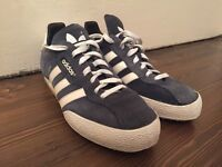 ADIDAS SAMBA BLUE SUEDE TRAINERS - AS NEW