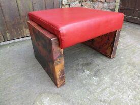 Copper & leather stool, very unusual designer item. Excellent condition