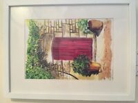 RED DOOR PAINTING - WATER COLOUR PRINT (FRAMED) £25