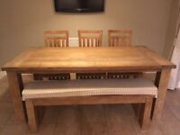 Barker and Stonehouse 'Zanzibar' dining table, chairs and bench