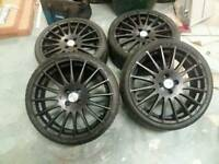 "Genuine Oz racing Superturismo 18"" 4x100 alloy wheels + 4 matching tyres! Honda Vauxhall Renault vw"