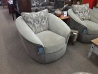 3 + 1 + 1 Grey Fabric Suite with Footstool