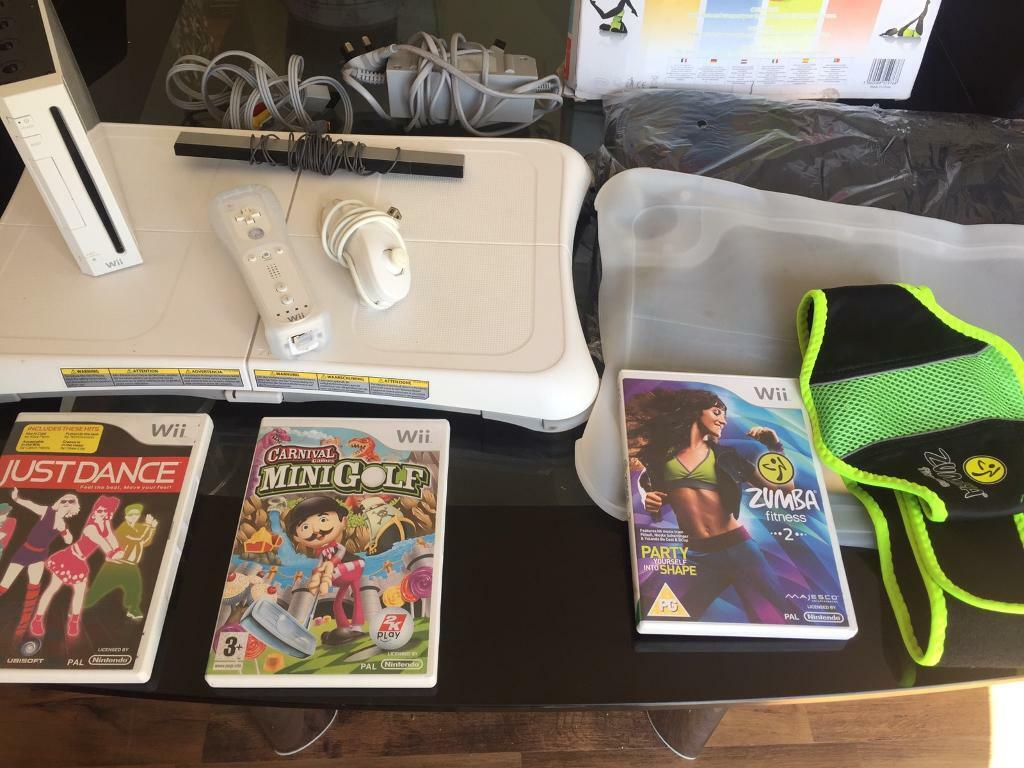 Nintendo Wii bundlein West Derby, MerseysideGumtree - Nintendo Wii console all wires 1 controller 1 nunchuck1 Nintendo Wii fit board Wii fit accessory pack 1 Wii fit board bag 1 Wii fit rubber sleeve1 pair of Wii fit sensor socks (unused still in cellophane)Wii fit Zumba pack Zumba beltZumba game Wii...