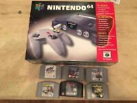 NINTENDO N64 GAMES CONSOLE. Boxed with 6 Games.