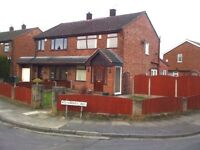 WORLSEY, MANCHESTER HAS A LARGE 3 BED SEMI CORNER PLOT WITH LARGE GARDEN AND GARAGE.