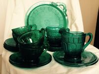 Vintage Green Glass Tea Cake Set Rose 19 Pieces Teacup Plate Saucer
