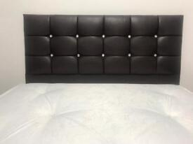 Double Black Leather Bed with diamontie Headboard