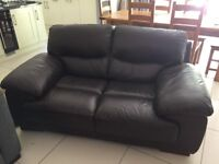 Two & three seater dark brown leather sofas for sale with matching footstool. 2 years old. VGC.