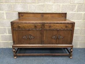 Vintage Solid Oak Sideboard With Two Drawers and Two Large Cupboards