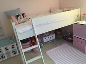 As-new white wooden mid-sleeper bed frame