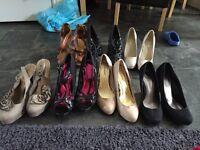 Big bundle of clothes, shoes, bags, belts and coats
