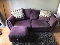 DFS two seater sofa with storage footstool