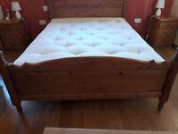 King size mattress and pine wood frame