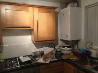 Full kitchen for sale with cooker hob extractor and sink in solid wood with black worktops