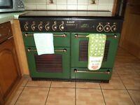 Rangemaster twin oven gas cooker and hood.