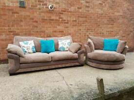 DFS 3 Seater Sofa With Matching 360 Degree Swivvel Chair