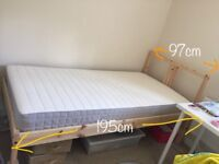 Nearly new single bed with mattress-FREE under bed box + cloths rack