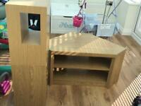 Next Opus Oak corner TV unit and 2 side tables
